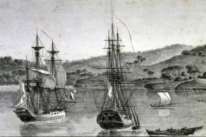 Ships Le Géographe and Le Naturaliste, from the Nicolas Baudin expedition to Australia, c. 1800-1803