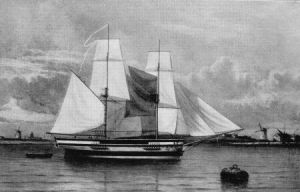 The Lady Nelson in the Thames, whose explorations included the Bass Strait c. 1802