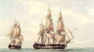 French ships Recherche, and Esperance, from the d'Entrecasteaux expedition, reaching Tasmania, c. 1792-1793