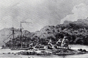 Week 4 – 24 sep – last instalment of john Bryson The ship Ocean, off Hunter Island c. 1804